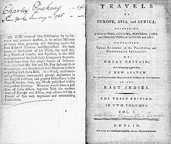 "Front matter of Pinckney's copy of ""Travels"""