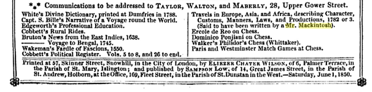 Advertisement in The Publishers' Circular (1850).