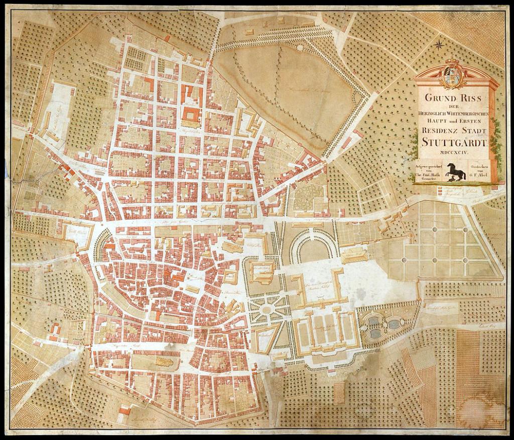 Grund Riss der Herzoglich Wirtembergischen Haupt und Ersten Residenz Stadt Stuttgardt, 1794
