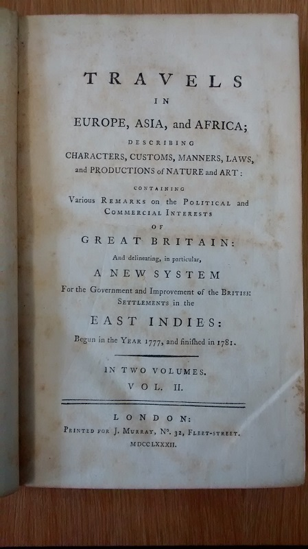"Title page of ""Travels in Europe, Asia, and Africa"""