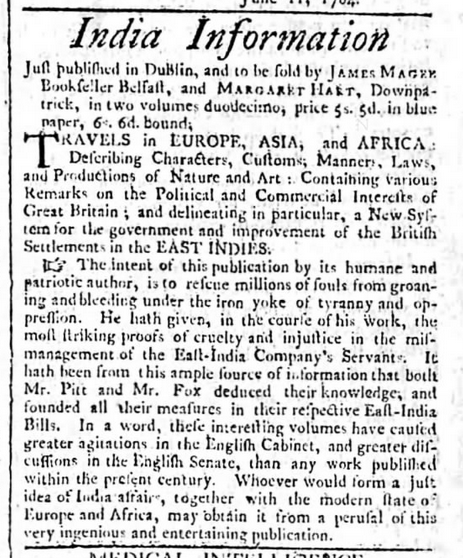 "Advertisement for ""Travels"". The Belfast Mercury (15 June 1790)"