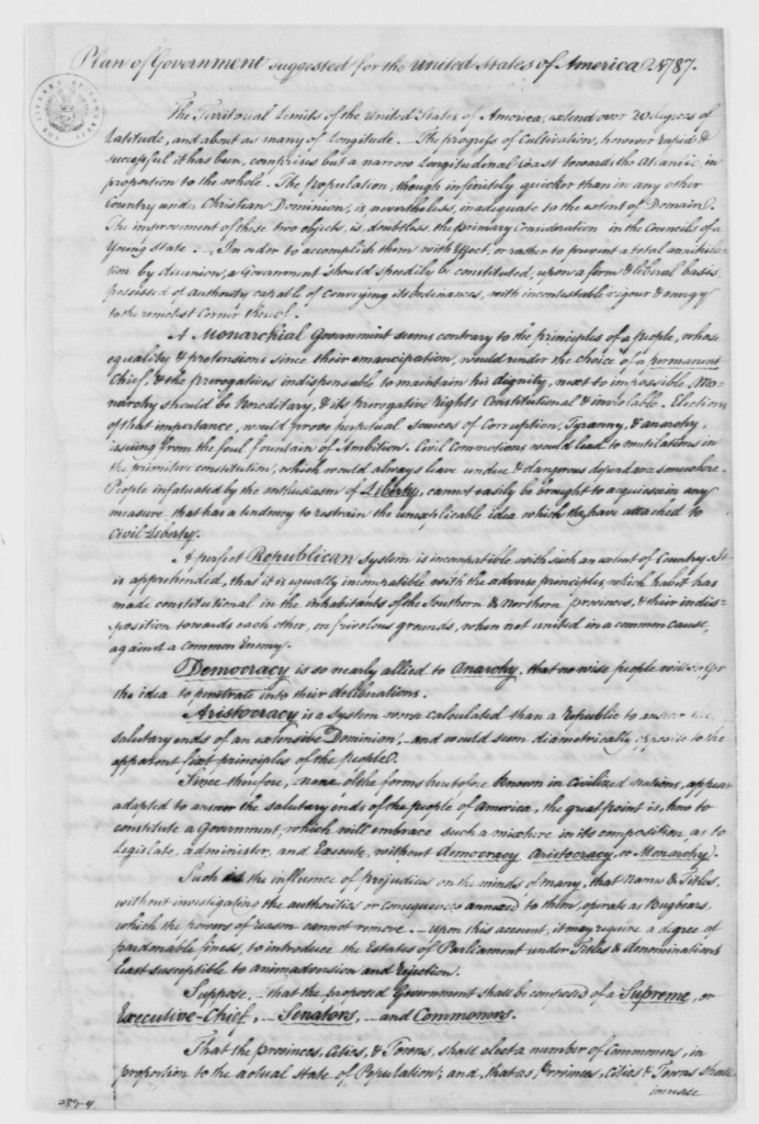 "Macintosh's ""Plan of Government suggested for the United States of America"" (20 August 1787). George Washington Papers at the Library of Congress, 1741-1799: Series 4. General Correspondence. 1697–1799."