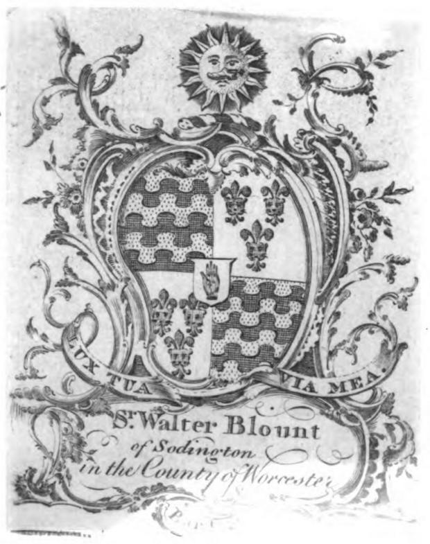Ex Libris of Sir Walter Blount.