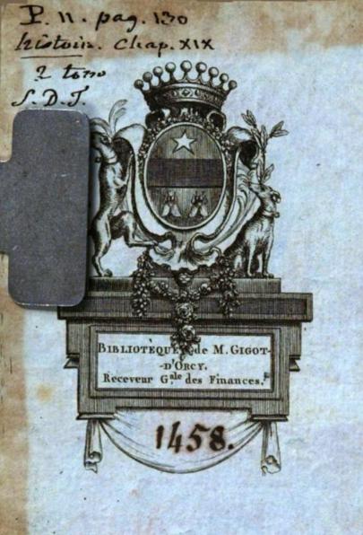 Ex Libris of Jean-Baptiste-François Gigot d'Orcy, in the Bibliothèque municipale de Lyon's copy of Voyages en Europe, en Asie et en Afrique (1786).