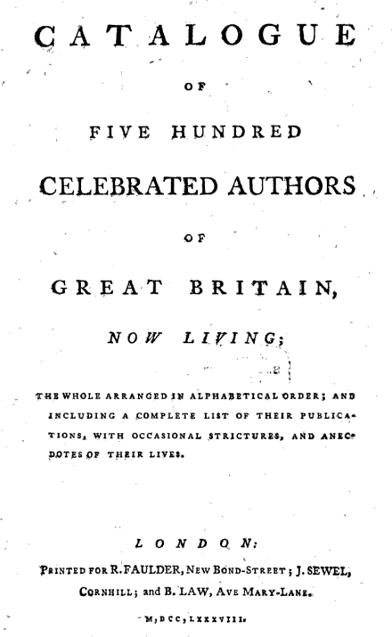 Title page of Catalogue of Five Hundred Celebrated Authors of Great Britain, Now Living (1788).
