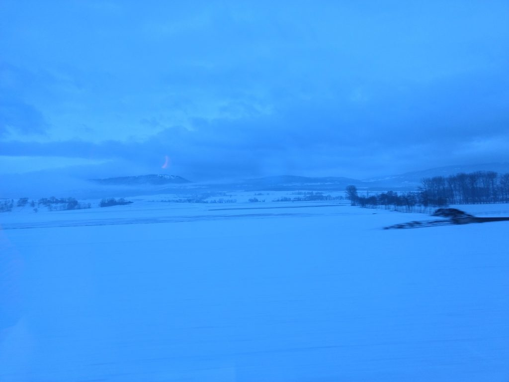 The snowy Swiss countryside at dawn from the train to Neuchâtel.