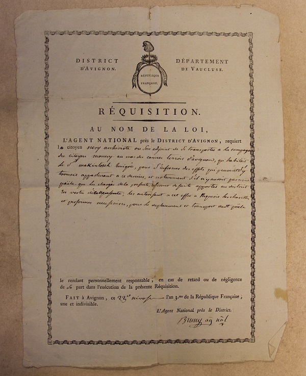 Order of requisition for Macintosh's effects, dated the 23rd of Nivose in the 3rd year of the French Republican calendar (12 January 1795). Archives départementales de Vaucluse 1 L 452.