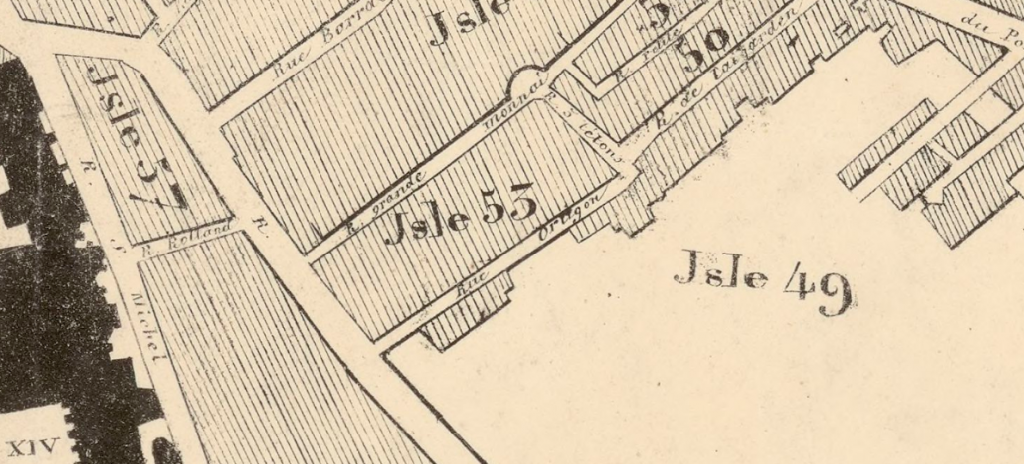 Detail from an 1835 plan of Avignon, showing the location of Rue des Trois Testons. Plan de la ville d'Avignon (1835). Bibliothèque nationale de France, département Cartes et plans, GE C-3004.
