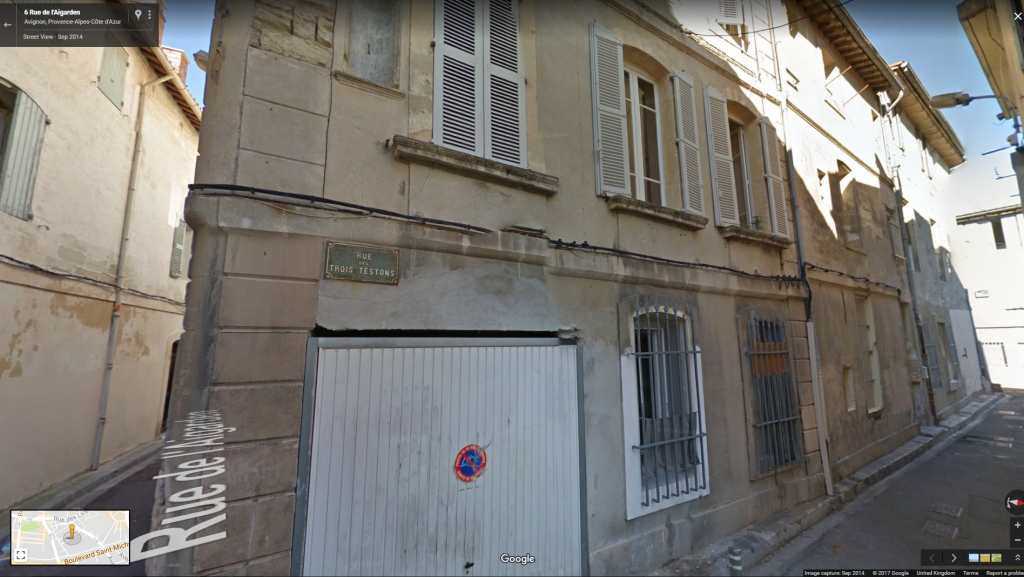 The Google Street View image of Rue des Trois Testons, the possible location of Macintosh's Avignon town house.