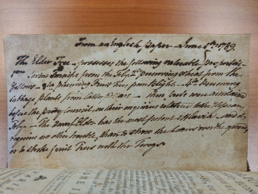 Inscription in Bibliotheque physico-économique, instructive et amusante, année 1786. Tome II. Bibliothèque Ceccano, P 57.