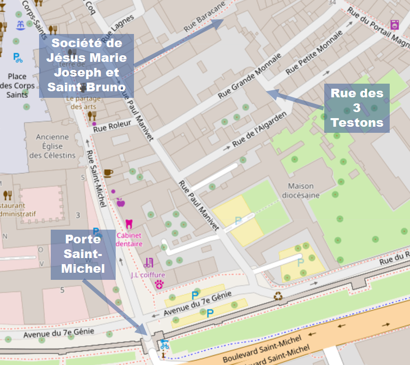 Map (on an OpenStreetMap base), showing the location of Macintosh's home in Avignon.