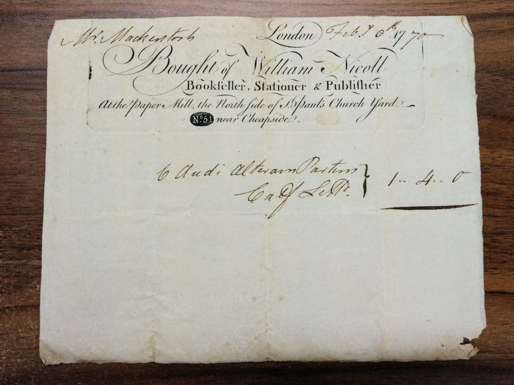 Bill from William Nicoll, 5 February 1770.