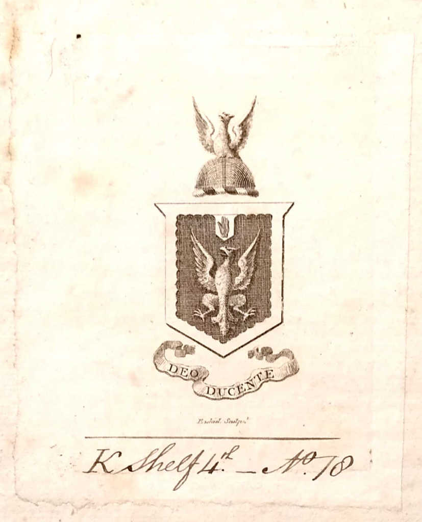The previously unidentified bookplate. The Huntington Library, call number 355653.