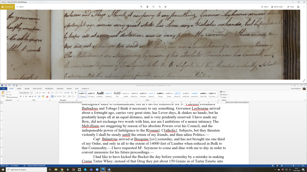 Screenshot showing the transcription of one of William Macintosh's letters.