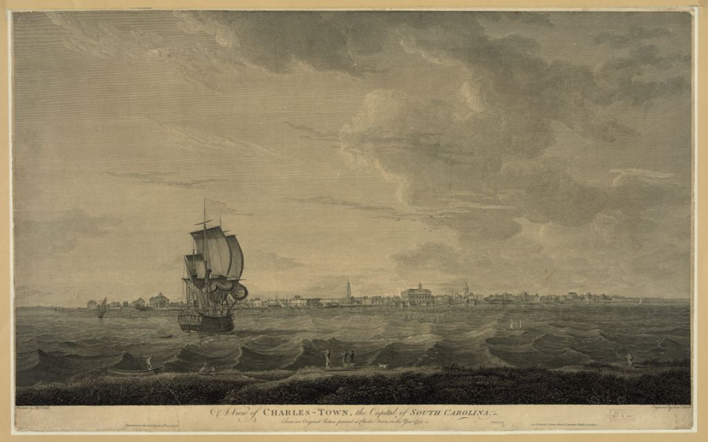 A view of Charles-Town, the capital of South Carolina (1776). Library of Congress LC-DIG-pga-02794.